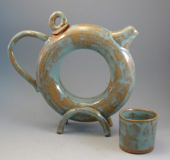 Donut Teapot And Tea Cup By Patspottery On Etsy