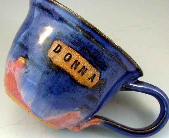 Personalized Custom Mugs \/ Handmade Wheel Thrown Stoneware Pottery