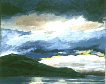 Fijord View II, An Original Seascape Painting 23 x 23 inches