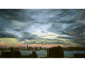 The Jersey Side II (An Original Framed Painting Looking Across The Hudson From New York City, 22 by 37 inches)