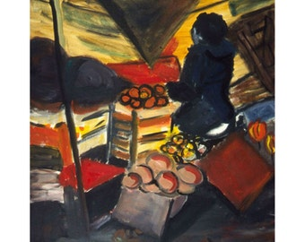 The Fruit Man on The Canal (An Original  Fauvist Oil Painting 36 x 32 inches)