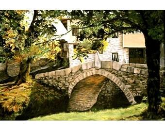 The Kalachev Bridge, An Original Landscape Painting Set in Bulgaria,  24 x 35 inches