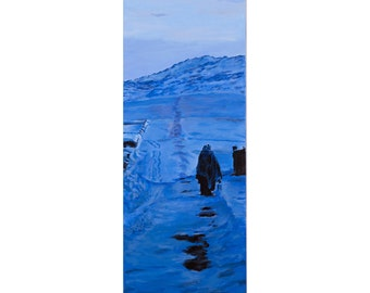 Blue Winter,  An Original Landscape Set In Afghanistan 30 by 10 inches