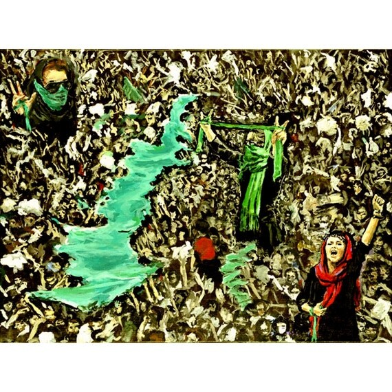 Green Tehran (An Original Painting In Tribute To the 2009 Protests in Iran, 18 by 24 inches)