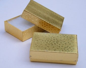 CLEARANCE - 36 gold cotton filled jewelry gift boxes  3 x 2 x 1 - please read description