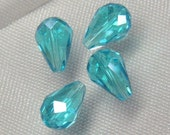 Swiss Blue Topaz 12x8  faceted round briolette quartz glass beads center drilled 4pcs