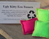 Ugly Kitty Eco-Tossers - Punk Tart Neon Pink and Green - Organic Catnip Toy