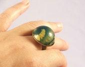 Big Dark Green and Yellow Swirly Ring