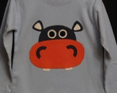 CUSTOM ORDER - Hippo on long sleeve size 4