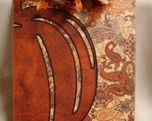 OOAK altered decorated clipboard PAISLEY PUMPKIN