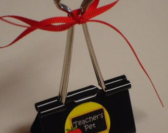 Clearance Sale LARGE binder clip recipe - gift card - photo holder TEACHERS PET