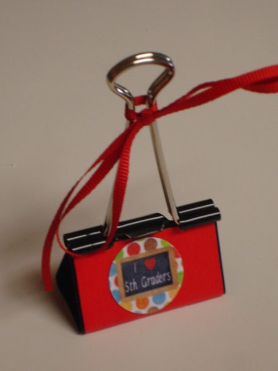 LARGE binder clip recipe - gift card - photo holder FIFTH GRADERS