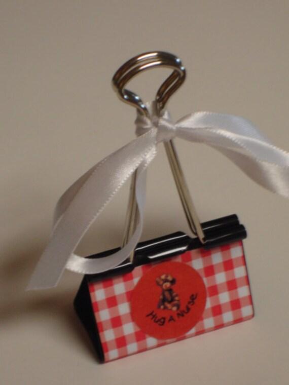 LARGE binder clip recipe - gift card - photo holder HUG a NURSE