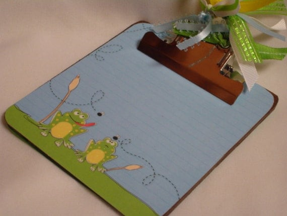 POST It NOTE magnetic CLIPBOARD Post it holder Frogs