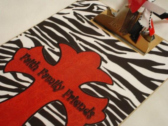 Memo sized clipboard FAITH FAMILY FRIENDS zebra print