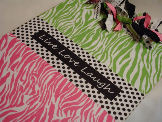 PREPPY ZEBRA CLIPBOARD Live Love Laugh