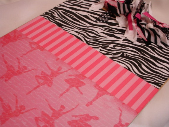 PERSONALIZED BALLET CLIPBOARD Zebra and Hot Pink