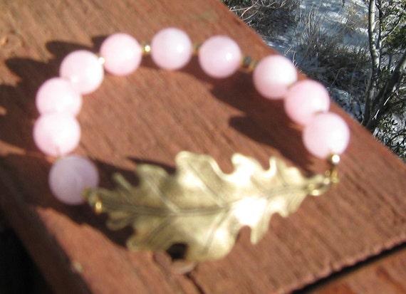 Pink Rose Quartz With Gold Leaf Bracelet