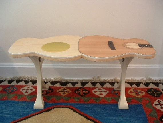 items similar to guitar shaped coffee table on etsy. Black Bedroom Furniture Sets. Home Design Ideas