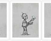 Cute Robot Art Prints - 11X14 - 3 pack