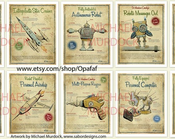 Retro Art Prints - 6 pack - vintage style 8.5x11