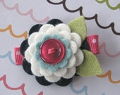 Cassidy - Wool Felt Flower and Button Hair Clip