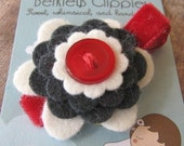 HARLOW -  Wool Felt and Button Hair Clip