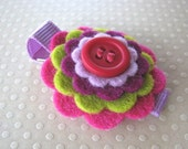 Ryleigh - Wool Felt Flower and Button Hair Clip in lavender, fuschia, purple