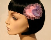 Cutie Dynamite Original Double Ruffled Pastel Heart Hair Clip Accessory Cute Kawaii Lolita Pinup Party