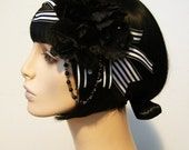 Stripes and Roses Goth Flapper Headband Accessory by Cutie Dynamite Burlesque Pinup Boudoir