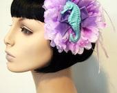 Mermaid Princess Dahlia Flower Hair Clip Accessory by Cutie Dynamite Pinup Burlesque Retro