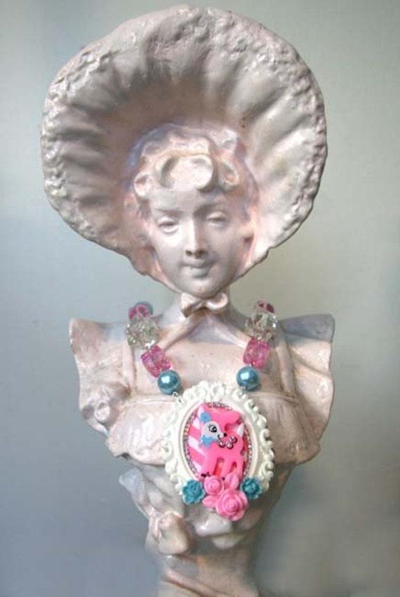SALE Doe in Pink Sparkle Necklace Lolita Cute Kawaii Girly Feminine by Cutie Dynamite