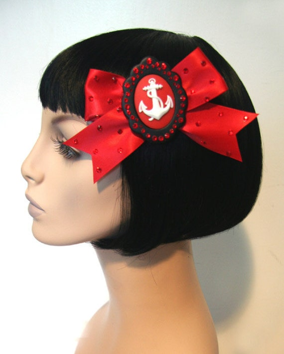 SUPER SALE Ultimate Sailorette in Red Hair Bow Clip Accessory by Cutie Dynamite Lolita Party Pinup Alice Kawaii Cute