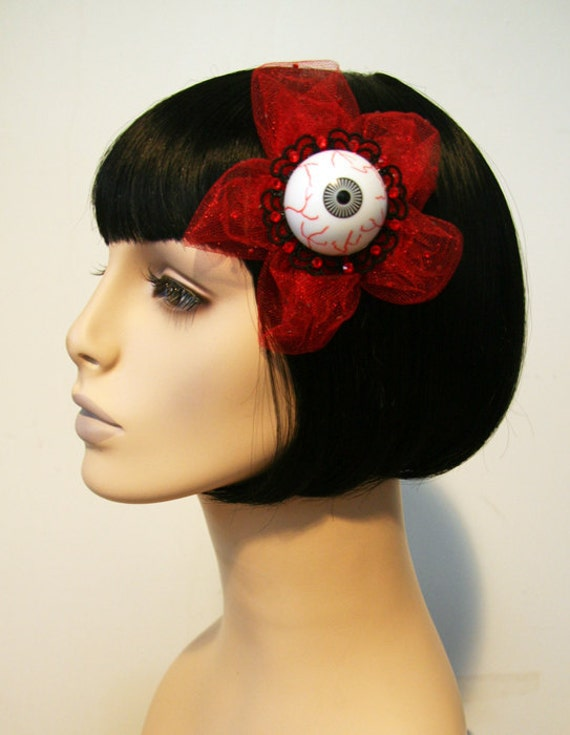 RESERVED FOR DANIELLE Creepy Eyeball Tulle Sparkle Hair Flower Clip Accessory by Cutie Dynamite Pinup Rockabilly Party Burlesque
