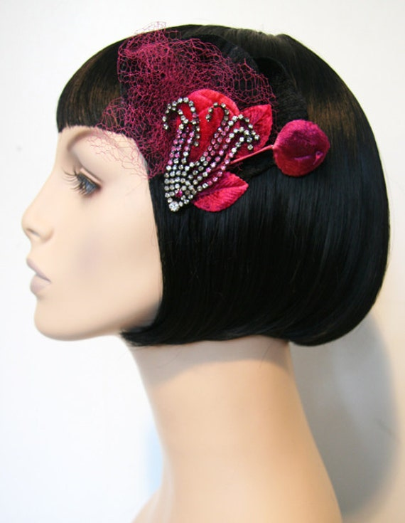 SUPER SALE Burgundy Leaves Hair Clip Fascinator Accessory by Cutie Dynamite Pinup Burlesque Retro