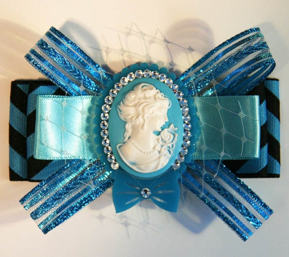 Baby Blues Cameo Hair Bow Clip Accessory by Cutie Dynamite Girly Lolita Cute Kawaii