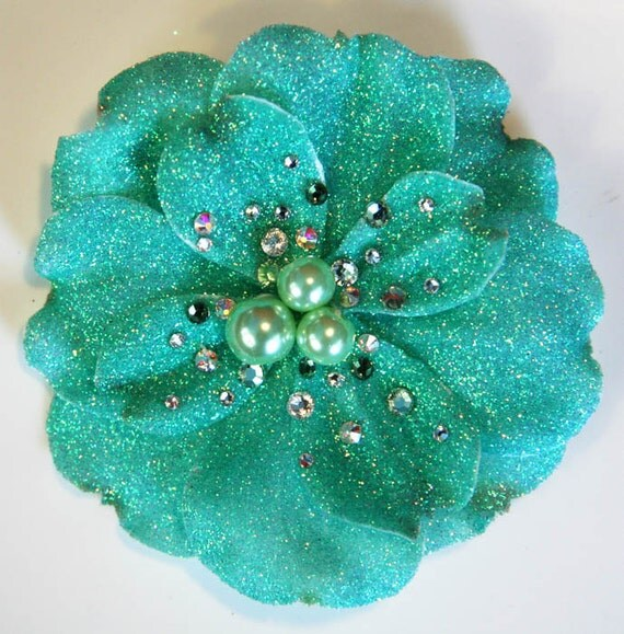 Amazing Sparkle Dogwood Hair Clip Accessory by Cutie Dynamite Pinup Retro Rockabilly Burlesque Girly Party