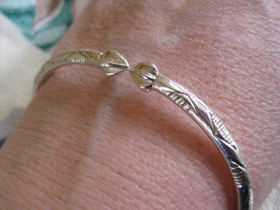 West Indian Sterling Silver Bangle Bracelet