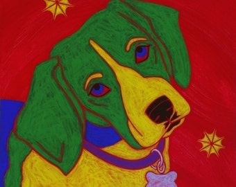 Beagle Pop Art Print - Colorful Dogs by Angela Bond Art
