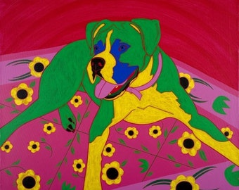 Boxer Dog Matted Print - Courageous Clown - by dogpopart on Etsy