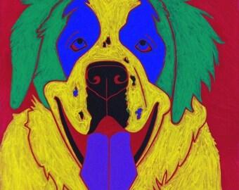 St Bernard Print - Colorful Dog Art by Angela Bond