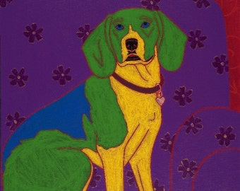 Snoop Dog in the House - Beagle Art - Beagle Print - Fine Art Print by Angela Bond