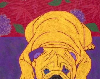 Bulldog Art MATTED Print - Colorful Dogs by Angela Bond