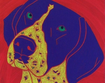 German Shorthair Pointer MATTED Print - Colorful Dogs by Angela Bond