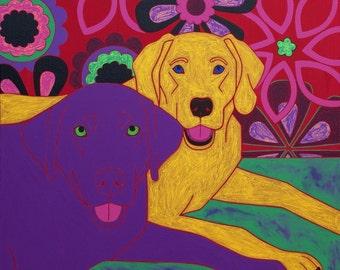 Soul Sisters - Labrador Art - Lab Print - Dog Pop Art - by dogpopart