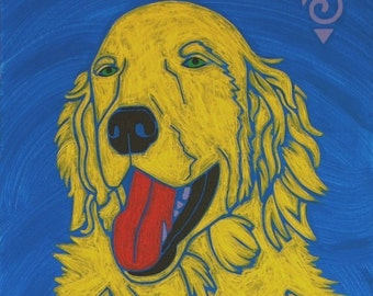 Smiles for Everyone - Golden Retriever Art - Golden Retriever Print - Dog Pop Art - Modern Dog Art - by dogpopart