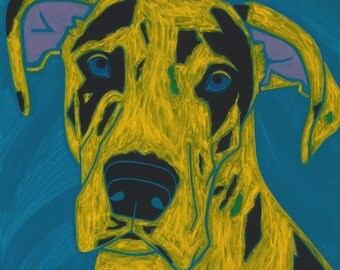 Harlequin Dane - Dog Pop Art - Animal Pop Art - Fine Art Print by Angela Bond