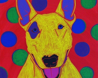 Bull Terrier MATTED Print - Colorful Dogs by Angela Bond