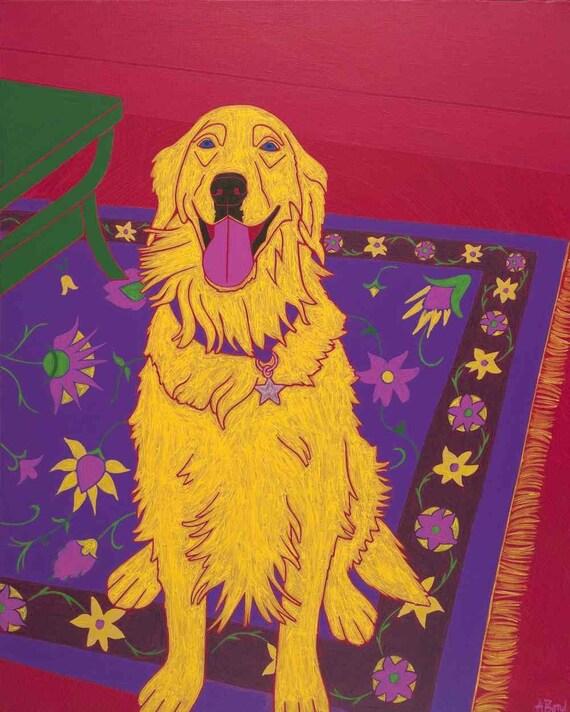 Bon Vivant - Dog Pop Art - Golden Retriever Print - Modern Dog Art - by dogpopart