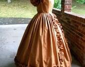 Golden Rose Silk Ball Gown